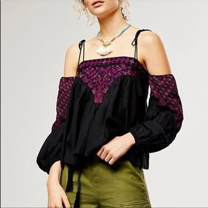 Free people cross stitch embroidered top
